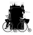 man and woman in top hats ride retro bicycles vector image