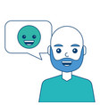 man with smile emoticon in speech bubble vector image vector image