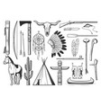 native americans indians culture symbols weapons vector image