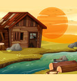 old wooden house by river vector image vector image