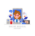 online medical support concept female doctor vector image