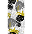 pattern with tropical plants in three colors black vector image vector image
