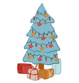 pine tree decorated with garlands and presents vector image vector image