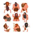 primitive cavemen set stone age prehistoric man vector image
