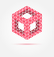red cube isometric icon made with triangles - vector image vector image