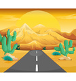 Scene with road in the desert vector image
