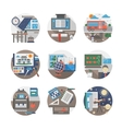 School routine flat color icons set vector image vector image