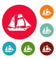 ship excursion icons circle set vector image vector image
