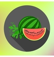 sliced watermelon flat long shadow vector image vector image