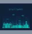 stuttgart city skyline german linear style vector image vector image