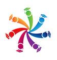teamwork graduates with cap alumni logo vector image vector image