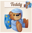 Teddy bear in pajamas with pillow vector image vector image