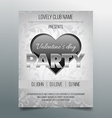 Valentines day party flyer template- silver design vector image