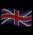 waving united kingdom flag pattern of gas mask vector image