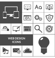 web design icons black set vector image