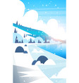 winter landscape frozen river and mountain hills vector image vector image