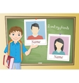 Yearbook about schoolboy and chalkboard vector image