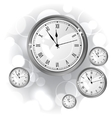 Stylish background with silver glossy watches vector image