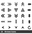 25 arrows icons set vector image