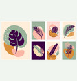 abstract tropical plant card set organic vector image vector image