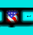american flag button in neon computer keyboard on vector image vector image