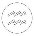 aquarius symbol zodiac icon black color in round vector image vector image