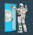 astronaut opens arms moon vector image vector image