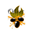 black olives and olive oil icon vector image vector image