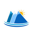 blue mountains nature icon logo vector image vector image