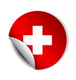 bright sticker with flag swiss vector image vector image