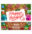 christmas banners with xmas gifts and presents vector image vector image