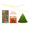 christmas room interior christmas tree and vector image vector image