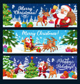 christmas tree gifts and santa on reindeer sleigh vector image