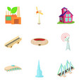 city traffic icons set cartoon style vector image vector image