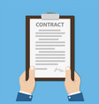 clipboard with contract in hands businessman vector image