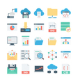 Cloud Data Technology Colored Icons 2 vector image vector image