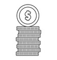 coin icon outline style vector image vector image