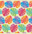colorful tropical leaves regular seamless pattern vector image vector image