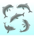 Cute dolphins in different poses set vector image