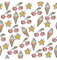 doodle seamless pattern with sweets elements vector image