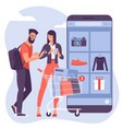 ector concept for mobile shopping vector image vector image