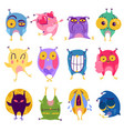 emotion owl stickers set vector image vector image