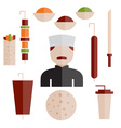 flat design doner kebab elements and chef vector image vector image