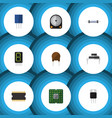 flat icon electronics set of display hdd triode vector image vector image