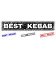 grunge best kebab scratched rectangle stamps vector image vector image