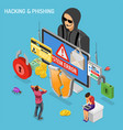 hacker phishing activity isometric concept vector image