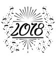 happy new year 2018 text black confetti white vector image