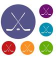 ice hockey sticks icons set vector image vector image