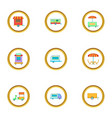 market stall icons set cartoon style vector image vector image