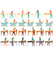 masseur icons set cartoon style vector image vector image